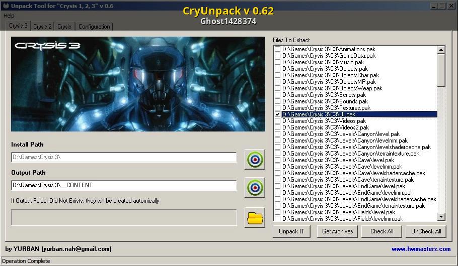 CryUnpack v 0 62 [Crysis] [Modding Tools]