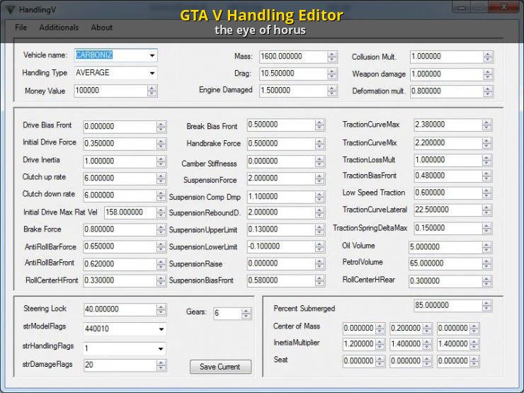 GTA V Handling Editor [Grand Theft Auto V] [Modding Tools]