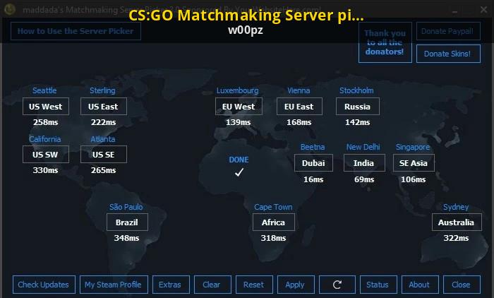 Matchmaking server picker español
